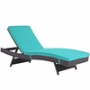Convene Espresso/Turquoise Outdoor Patio Chaise by Modway
