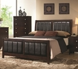 Carlton Black Leatherette/Cappuccino Wood Cal King Bed by Coaster