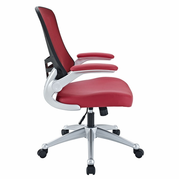 Attainment Red Office Chair with Vinyl Seat and Arms by Modway
