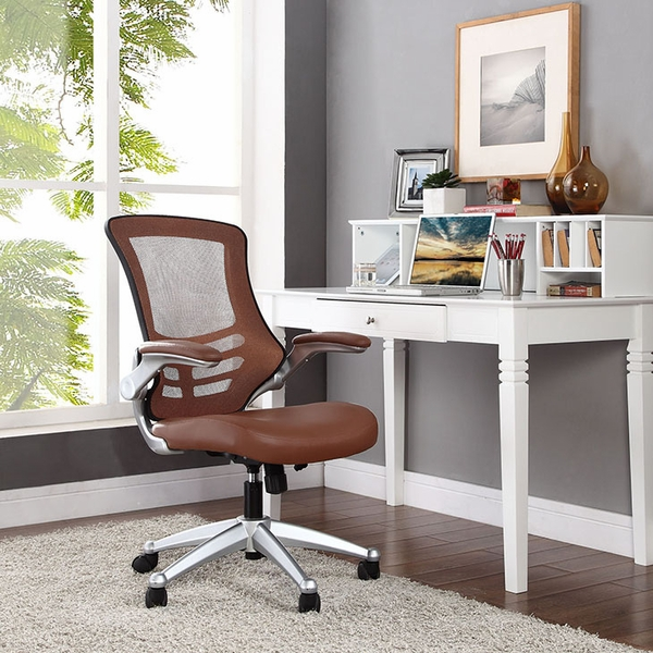 Attainment Tan Office Chair with Vinyl Seat and Arms by Modway