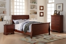 Fiona 3-Pc Cherry Wood Twin Bedroom Set with Sleigh Bed by Poundex