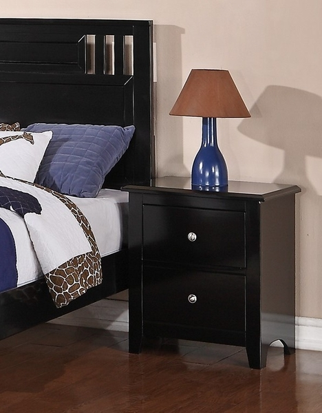 Rosario 4-Pc Black Wood Twin Panel Bedroom Set by Poundex