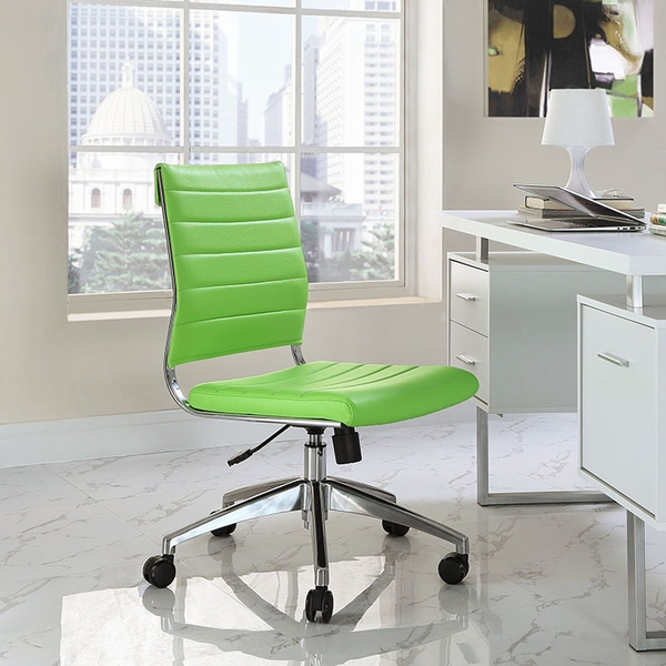 Jive Bright Green Vinyl/Chrome Armless Mid Back Office Chair by Modway