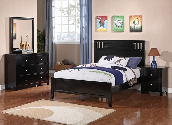 Rosario 4-Pc Black Wood Full Panel Bedroom Set by Poundex