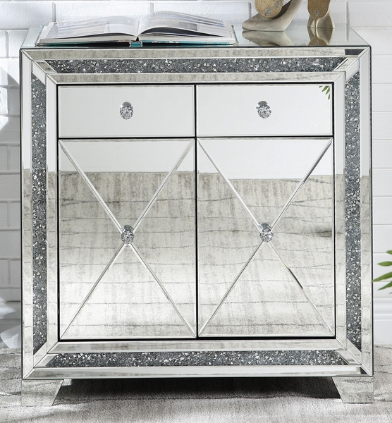 Noralie Mirrored Accent Cabinet with Faux Diamonds by Acme