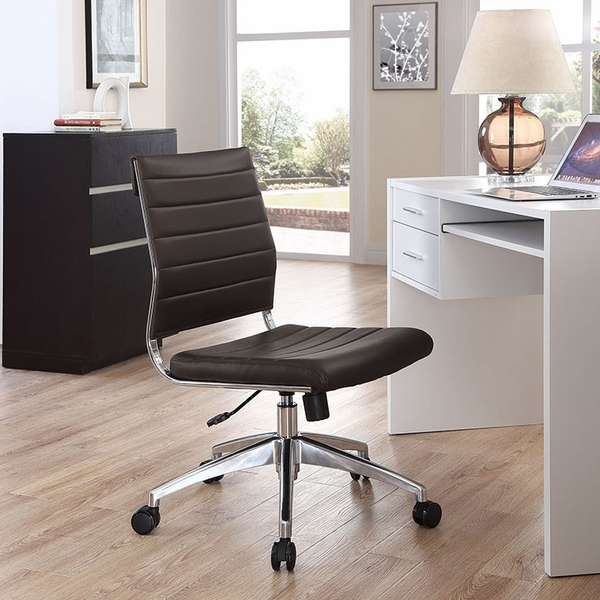 Jive Brown Vinyl/Chrome Armless Mid Back Office Chair by Modway