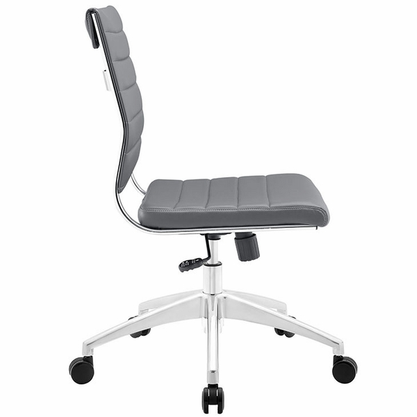 Jive Gray Vinyl/Chrome Armless Mid Back Office Chair by Modway