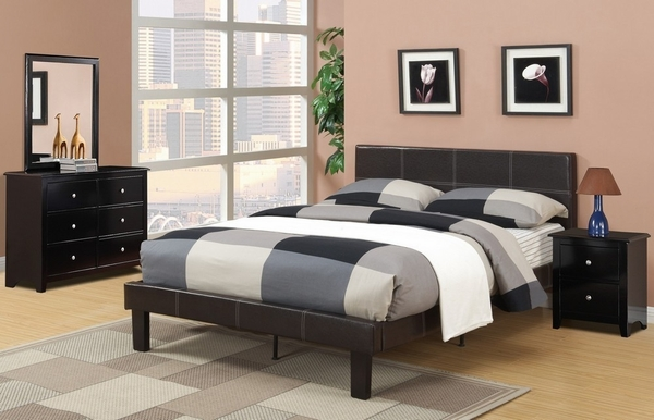 Jules 4-Pc Espresso Wood/Faux Leather Full Bedroom Set by Poundex