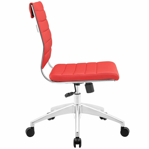 Jive Red Vinyl/Chrome Armless Mid Back Office Chair by Modway