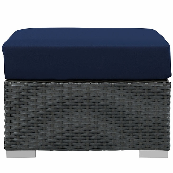 Sojourn Rattan Patio Ottoman with Navy Fabric Cushion by Modway