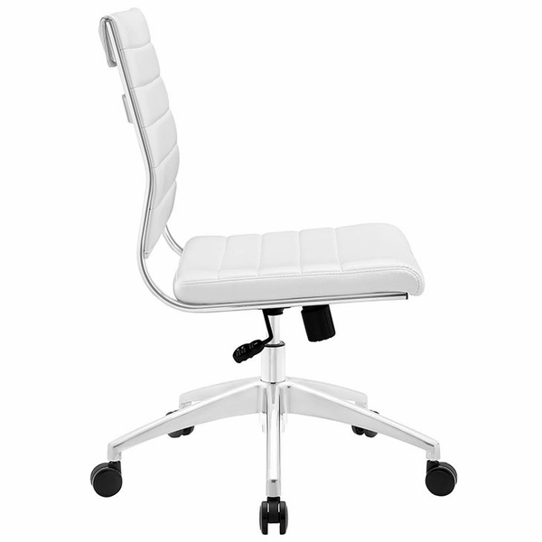 Jive White Vinyl/Chrome Armless Mid Back Office Chair by Modway