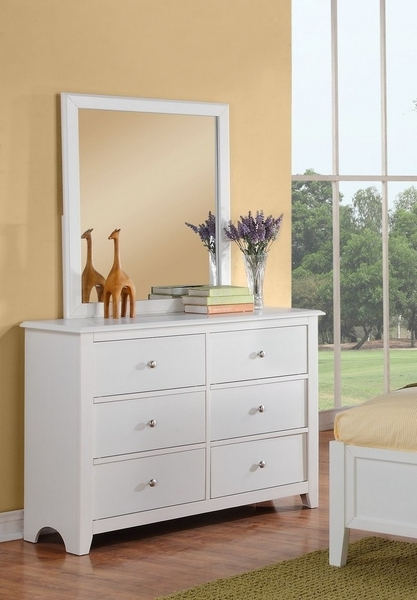 Dodie 4-Pc White Wood/Pink Faux Leather Twin Bedroom Set by Poundex