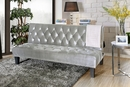 Cootehill Gray Flannelette Fabric Futon Sofa by Furniture of America