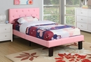 Dodie 4-Pc White Wood/Pink Faux Leather Full Bedroom Set by Poundex