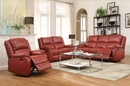 Zuriel 3-Pc Red PU Leather Manual Recliner Sofa Set by Acme