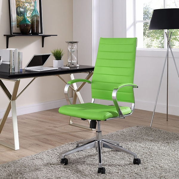 Jive Bright Green Vinyl/Chrome Highback Office Chair by Modway
