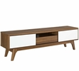 Envision Walnut/White Wood TV Stand w/2 Laminate Slide Doors by Modway