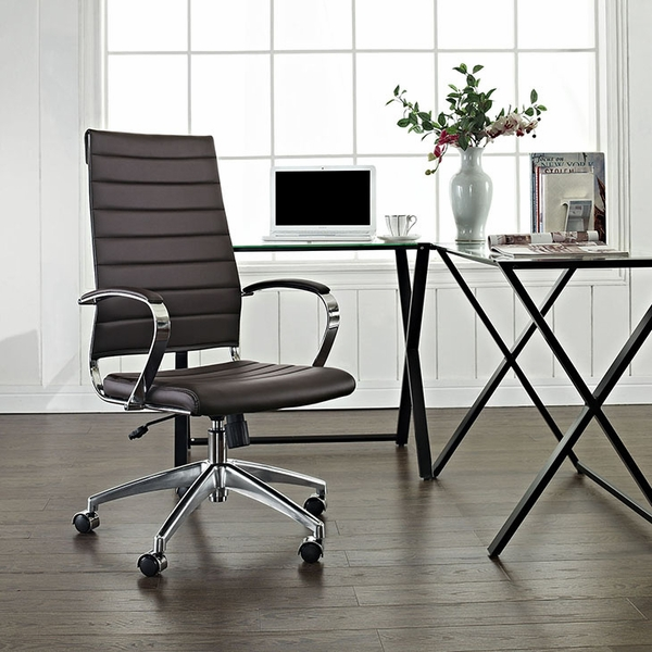 Jive Brown Vinyl/Chrome Highback Office Chair by Modway
