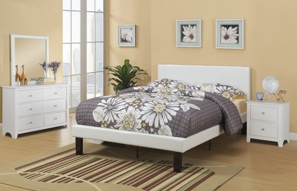 Jules 4-Pc Cream Wood/Faux Leather Full Bedroom Set by Poundex