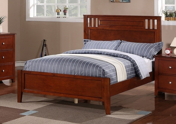 Rosario 4-Pc Cherry Wood Twin Panel Bedroom Set by Poundex