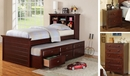 Luce 3-Pc Dark Cherry Wood Twin Bedroom Set with Trundle by Poundex