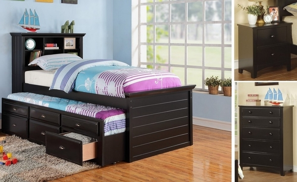 Luce 3-Pc Black Wood Twin Bedroom Set with Trundle by Poundex