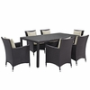 Convene Beige 7Pcs Patio Dining Set with Rectangular Table by Modway