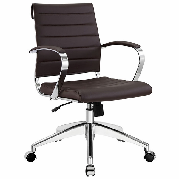 Jive Brown Vinyl/Chrome Mid Back Office Chair by Modway