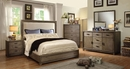 Antler Wood Cal King Bed with Fabric Headboard by Furniture of America