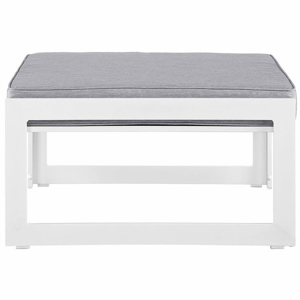 Fortuna White/Gray Fabric Outdoor Patio Ottoman by Modway