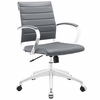 Jive Gray Vinyl/Chrome Mid Back Office Chair by Modway