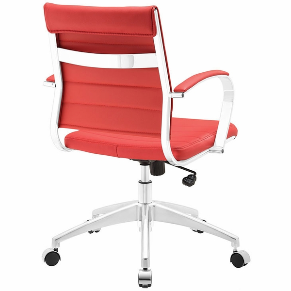 Jive Red Vinyl/Chrome Mid Back Office Chair by Modway