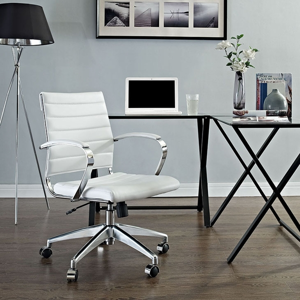Jive White Vinyl/Chrome Mid Back Office Chair by Modway
