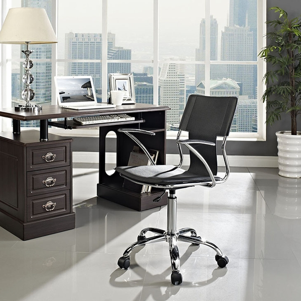 Studio Black Vinyl Upholstered Office Chair by Modway