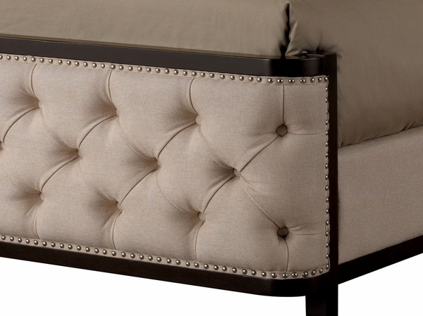 Chanelle Contemporary Ivory Fabric Queen Bed by Furniture of America