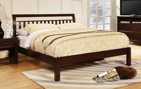 Corry Wood King Bed with Slatted Headboard by Furniture of America