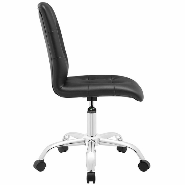 Prim Black Faux Leather Armless Mid Back Office Chair by Modway