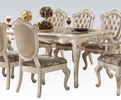 Chantelle Pearl White Wood/Marble Dining Table with 1 Leaf by Acme