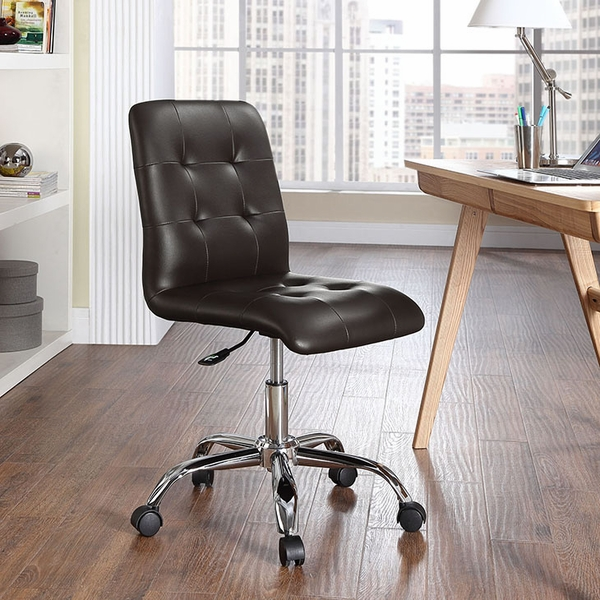 Prim Brown Faux Leather Armless Mid Back Office Chair by Modway