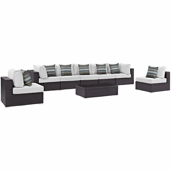 Convene 8-Pc Espresso & White Outdoor Patio Sectional Set by Modway