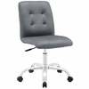 Prim Gray Faux Leather Armless Mid Back Office Chair by Modway