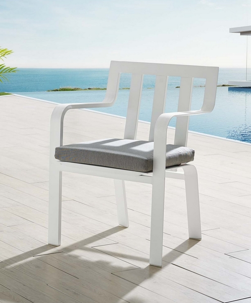 Baxley Gray Weimao Fabric/White Metal Patio Dining Arm Chair by Modway