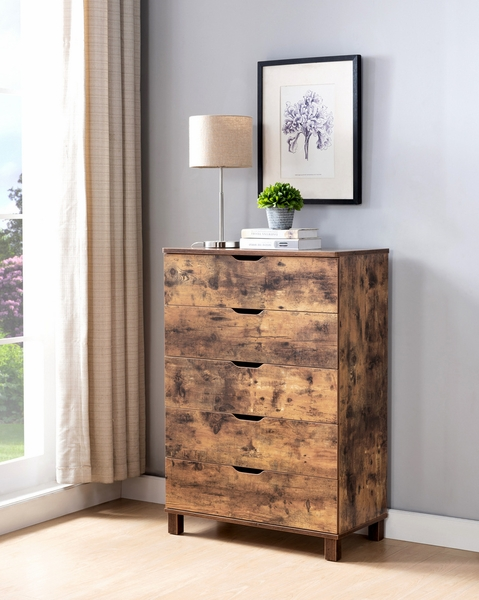 Essence Distressed Wood 5-Drawer Chest by ID USA