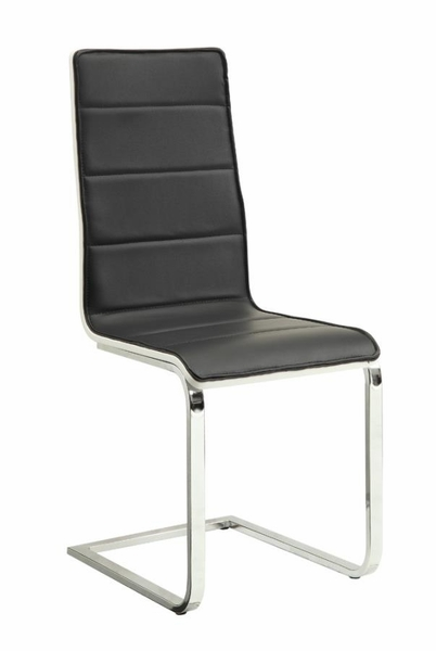Broderick 4 White/Black Leatherette Dining Side Chairs by Coaster