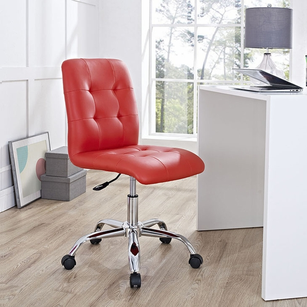 Prim Red Faux Leather Armless Mid Back Office Chair by Modway