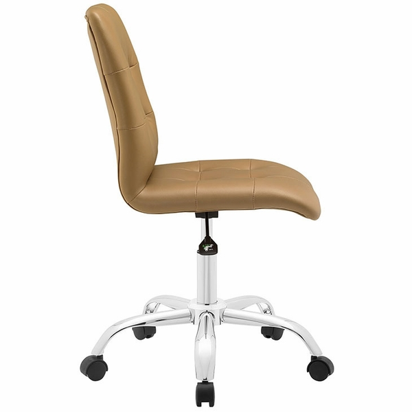 Prim Tan Faux Leather Armless Mid Back Office Chair by Modway