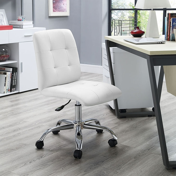 Prim White Faux Leather Armless Mid Back Office Chair by Modway