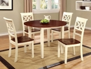 Dover 2 Vintage White/Cherry Wood Side Chairs by Furniture of America