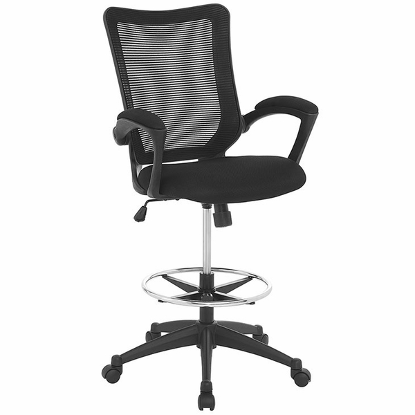 Project Black Mesh Drafting Chair by Modway