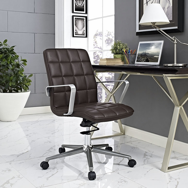 Tile Brown Vinyl Covered Office Chair by Modway